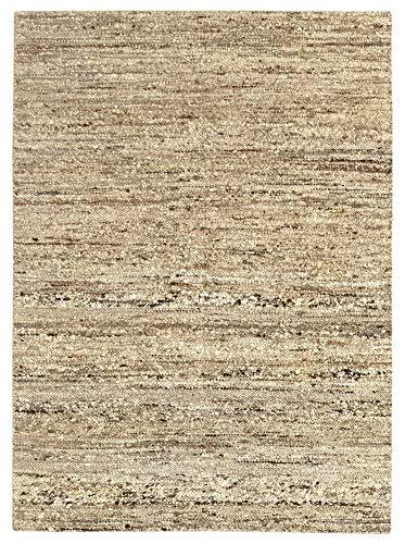 HAMID - Alfombra Kilim Montana con Diseño Rustico - 100% Lana - Alfombra Anudada a Mano - Alfombra de Salón, Dormitorio, Sala de Estar – Tonos Marrones y Beige - Diseño (Tierra, 140x200cm)