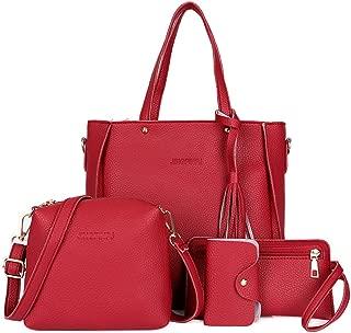 Vin Beauty Womens Fashion Handbag+Shoulder Bag+Purse+Card Holder 4pcs Set Tote Handbag Cosmetic Bag