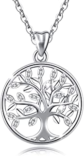 925 Sterling Silver Lucky Elephant Tree of Life Forever Love Pendant 18'' Necklace, Gift for Women Mom