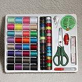 ILS – 100 piezas de costura portátil metro kit enhebrador aguja tijeras set dedal