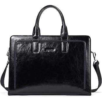 """BOSTANTEN Women Genuine Leather Briefcase Tote Business Vintage Handbag 15.6"""" Laptop Shoulder Bag Black"""