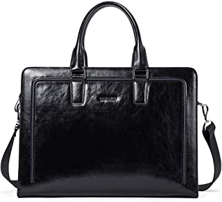 "BOSTANTEN Women Genuine Leather Briefcase Tote Business Vintage Handbag 15.6"" Laptop Shoulder Bag Black"