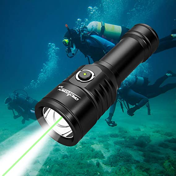 ORCATORCH D570 2-in-1 Scuba Diving Safety Light with 1000 Lumens White Beam, 1000 Meters Green Light, for Diving Instructors, Scuba Divers, Underwater 150 Meters Diving