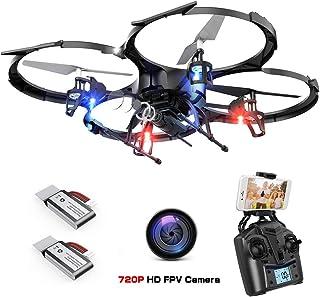 DBPOWER Wi-Fi FPV ドローン HDカメラ付き 高度維持機能 スマホで操縦可能 低電圧アラーム 3Dフリップ ヘッドレスモード搭載 安定性抜群 2.4GHz 4CH 6軸ジャイロ バッテリ2個付き 初心者向け 国内認証済み リアルタイム伝送 LEDライト 日本語取扱説明書付 (進化版U818A)