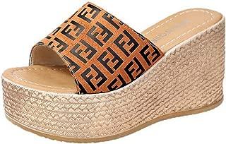 Veveca Women Peep Toe Clogs Slip on Roman Cork Wedge Sandals Slide Shoes Slipper High Heels Platform Mules