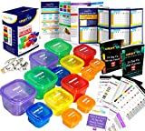 21 Day Portion Control Containers Kit - Nutrition Diet, Multi-Color Coded Weight Loss System. Complete Guide + PDF Planner + Recipe eBook and Tape Measure - BPA Free - 14 PC Labeled