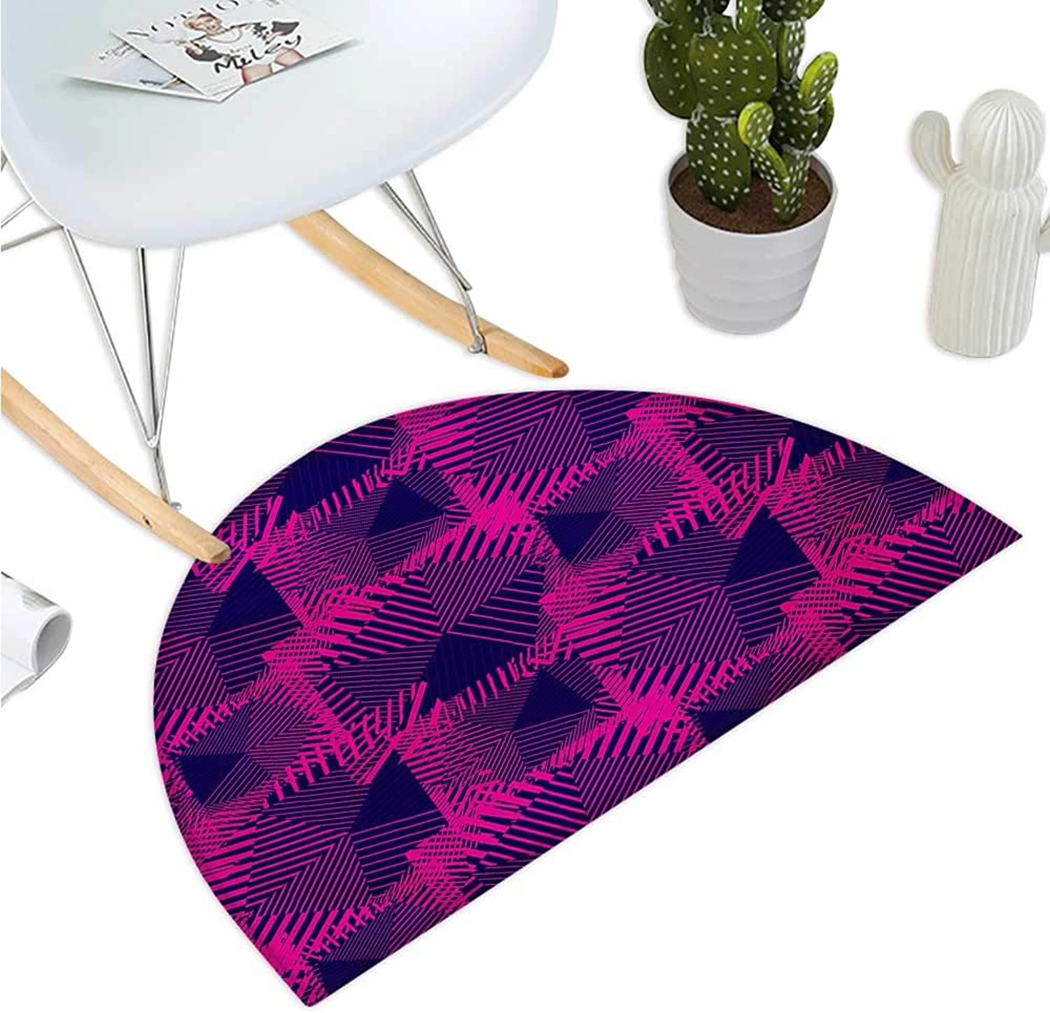 Magenta Semicircular Cushion Trippy Zip Style Mix Pattern with Dark color Effects and Diagonal Linked Lines Halfmoon doormats H 47.2  xD 70.8  Fuchsia Purple