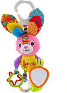 STOBOK Baby Stroller Car Seat Toy Cartoon Rabbit Bunny Stroller Teethers Hanging Rattles Easter Plush Toys Early Education Toys Gift