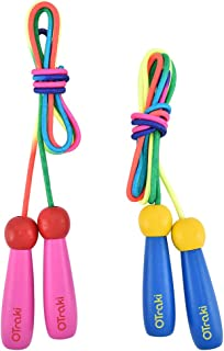 OTraki Verstelbaar springtouw voor kinderen, 2 stuks, 200 cm, touwtje met houten handvat en katoenen touw, voor jongens en...