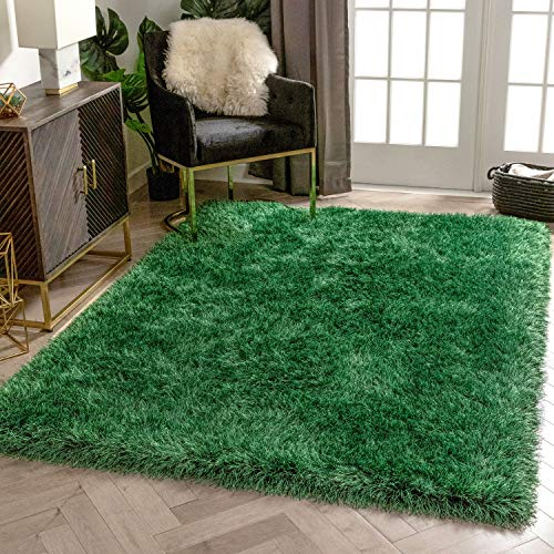 Well Woven Chie Green & Black Kuki Collection Ultra Soft Two-Tone Long Floppy Pile Rug 120 x 160 cm (3'11' x 5'3' ft.)