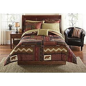 Southwest Cabin Bear King Comforter Set (8 Piece Bed In A Bag)