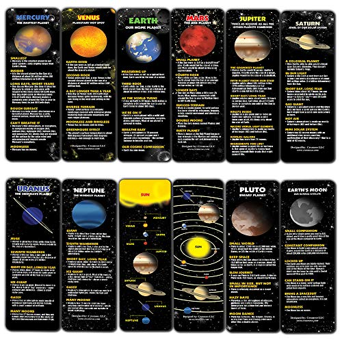 Creanoso Planet Facts Bookmark Cards (12-Pack) – Premium Quality Book Page Clipper Set – Educational Science Bookmarks for Boys, Girls, Men, Women, Teens – Teacher Rewards and Classroom Incentives