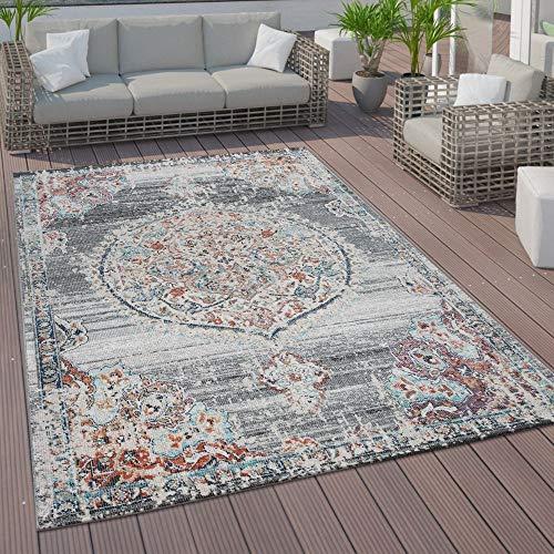 Paco Home In- und Outdoor-Teppich, Kurzflor Mit Orient Design In versch. Farben und Größen, Grösse:160x230 cm, Farbe:Grau