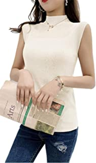 Qianqian ノースリーブ タートル ネック シャツ トップス リブニット カットソー レディース 無地 フリーサイズ 7色