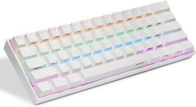 Anne PRO 2 60% Mechanical Keyboard w/Gateron RED Switch, Full Keys Programmable, True RGB LED Backlit, Arrow Keys on Keyboard, Higher-Capacity Battery, White Case