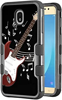 for Samsung Galaxy J7 Star / J7 Crown / J7 Aura / J7 Refine / J7 (2018), One Tough Shield 3-Layer Shockproof Protector Phone Case - Guitar Red