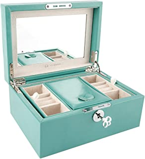 Vlando Retro Lockable Wooden Jewelry Box Organizer, Large Mirrored Jewelries Storage Holder with Key - Microfiber PU Leather Case - Best Gifts for Women Girls, Peacock Green