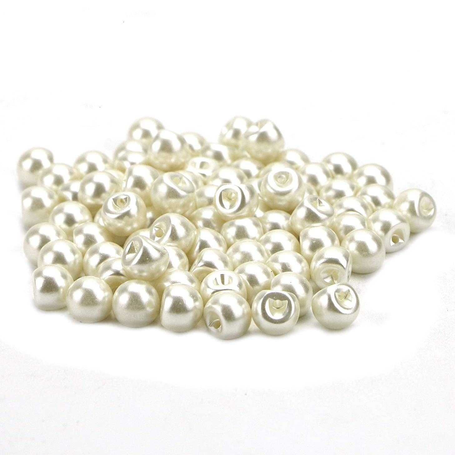 Monrocco 200pcs 10mm White Pearl Buttons Side Hole Round Sewing Buttons Pearl Buttons Pearl Bead Cap Half Ball Dome