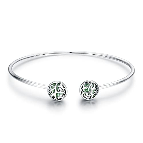 a1278f8a0 925 Sterling Silver Tree of Life Green Crystal CZ Women Open Cuff Bangle & Bracelet  Jewelry
