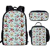 HUGS IDEA - Mochila de 15 pulgadas, ligera, bolsa de escuela, para adolescentes Bulldog francés 15 inch (3PCS Set)