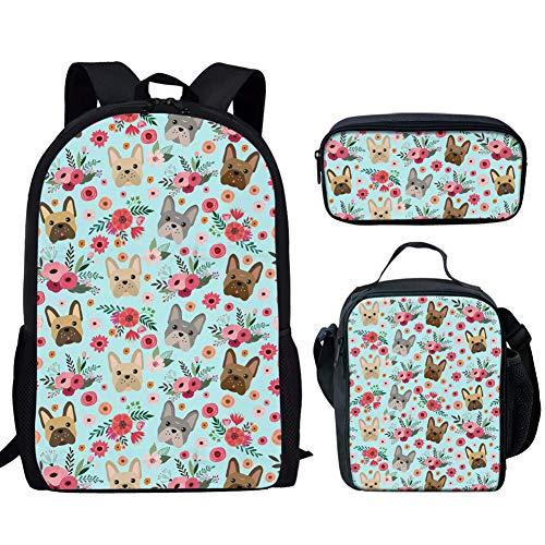 UNICEU Backpack Set 3 Pieces Student Boy Girl French Bulldog Flower Print Bookbag Lunchbox School Pencil Bag