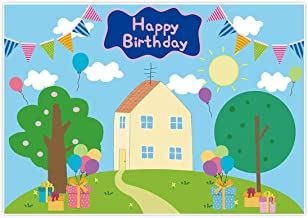 Allenjoy 7x5ft Happy Birthday Party Backdrop Favors Cartoon House Trees Street Sky Flags Props Photography Baby Shower Kids Boys Prince Celebration Photo Booth Studio Props Banner Decorations Supplies