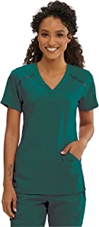 Grey's Anatomy Impact Elevate Top for Women- Extreme Comfort Medical Scrub Top, Hunter Green, XL