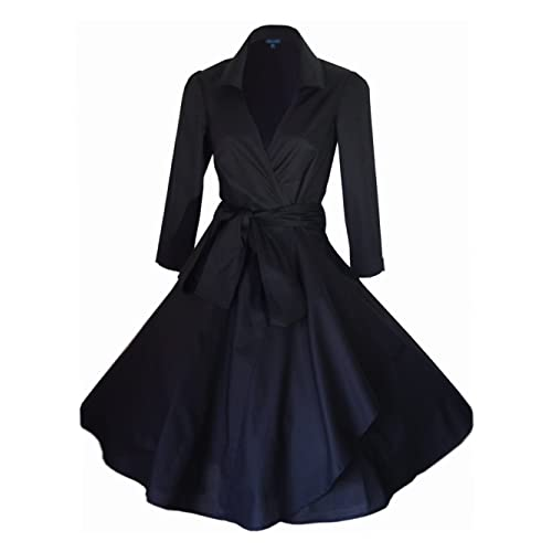 Vintage 40's 50's Style Rockabilly / Swing / Pin up Cotton Wrap Evening Party Cocktail Dress SIZES 4 - 28