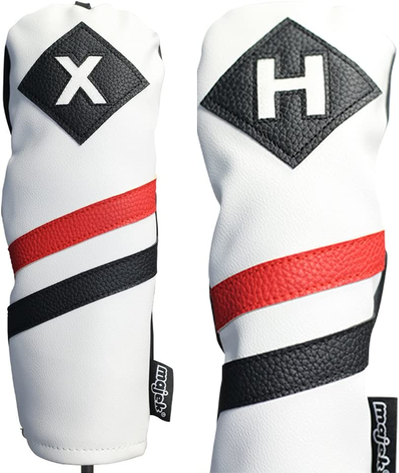 Majek Retro Golf Headcovers White Max 50% OFF and Red Vintage Black Directly managed store Leather