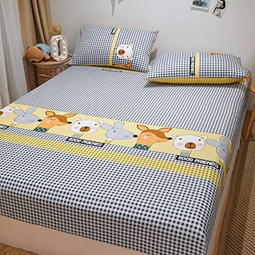 FJMLAY Sábana bajeraajuste, Sábanas Ajustables de Cama de algodón de Dibujos Animados, Protector Antideslizante para Alfombrilla para Dormitorio Apartment-V_90cmx200cm