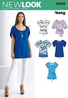 New Look sewing pattern 6025: Misses' Tunic or Tops size A (8-10-12-14-16-18)