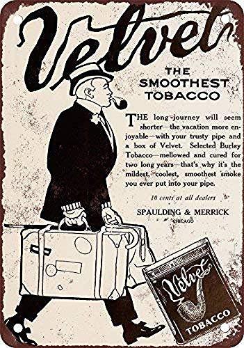 Velvet Pipe Tobacco Blechschild Retro Blech Metall Schilder Poster Deko Vintage Kunst Türschilder Schild Warnung Hof Garten Cafe Toilette Club Geschenk