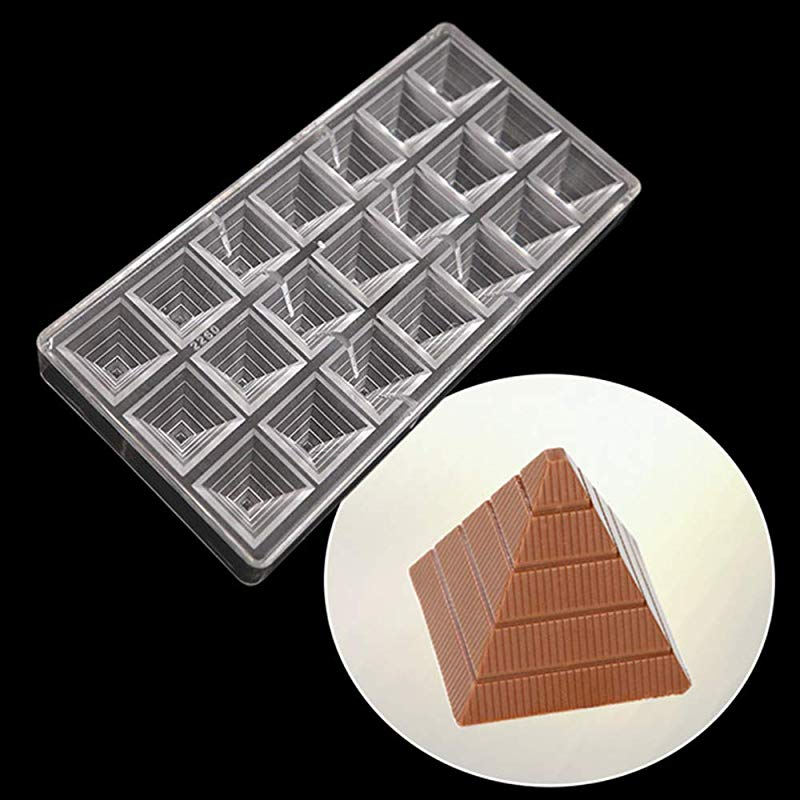 21 Holes Polycarbonate Chocolate Mold 3D Chocolate Making Molds DIY Hard PC Jelly Candy Moulds Tray Clear Chocolate Bar Maker Mold Non Stick Ice Cube Trays Pastry Baking Tools Bakeware Pan