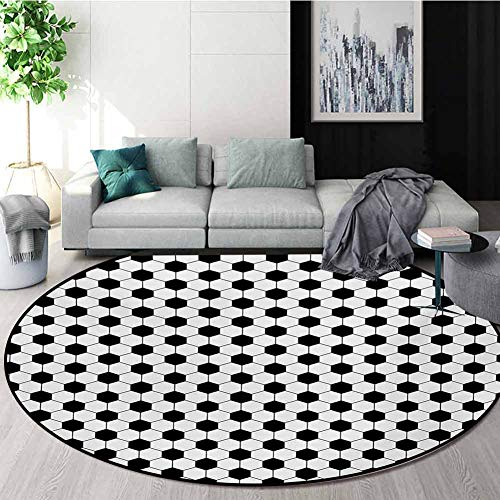 Sale!! RUGSMAT Soccer Round Rug,Abstract Football Ball Pattern Monochrome Geometric Design Sports Fu...