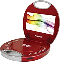 Sylvania SDVD7046-Red 7-Inch Portable DVD Player with Integrated Handle, Red (Renewed)
