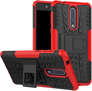 TenYll case For Nokia 8, Shockproof Tough Heavy Duty Armour Back Case Cover Pouch With Stand Double Protective Cover Nokia 8 Case -Red