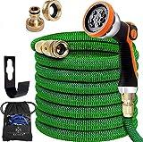 KESSER® Premium Flexibler Gartenschlauch | 7,5 ausgedehnt |+ Wandhalterung | Wasserschlauch flexibel mit 3-Fach Latexkern | dehnbarer flexiSchlauch | Verschraubungen aus hochwertigem Messing, Grün