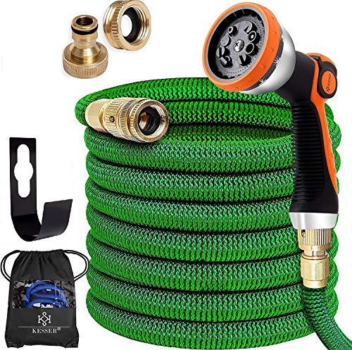 KESSER® Premium Flexibler Gartenschlauch | 30m ausgedehnt |+ Wandhalterung | Wasserschlauch flexibel mit 3-Fach Latexkern | dehnbarer flexiSchlauch | Verschraubungen aus hochwertigem Messing, Grün