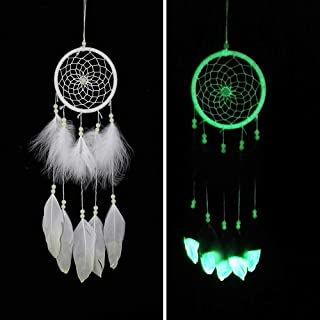 Luminous Dream Catcher,Manual Feather Hanging Decor Dreamcatcher For Car Kids Bed Room Wall Hanging Decoration Decor Ornament Craft,Dia 4.3inch/11cm (Type 2)