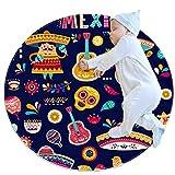 TIZORAX - Felpudos para interiores lavables, absorbentes y antideslizantes, diseño de ciudad de México, Tejido de poliéster, Varios Colores, 100x100cm/39.4x39.4IN