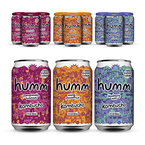 Humm Probiotic Kombucha Fun Variety Pack - 2 Billion Probiotics for Gut Health - Mango Passionfruit, Pomegranate Lemonade and Blueberry Mint (24 Pack)