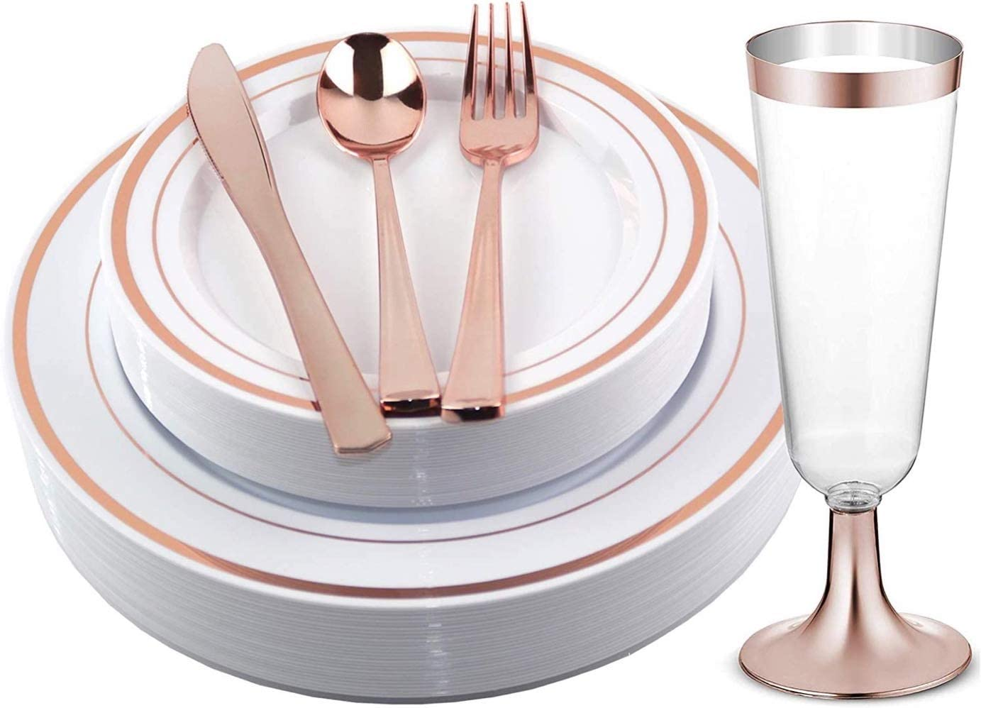 Facciamo Festa Rose Gold Plastic Spring new work one after another Plates Cutlery with Cups Su and OFFicial shop
