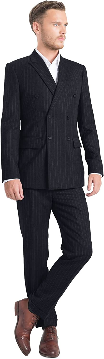 iTailor Men's 6-Button Double Breasted Pinstripe Suit Navy Blue 46 Long