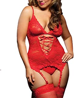 cdd9dd6c642 EVAbaby Sexy Lace Garter Lingerie Set Handcuff Corset Bodysuit for Woman
