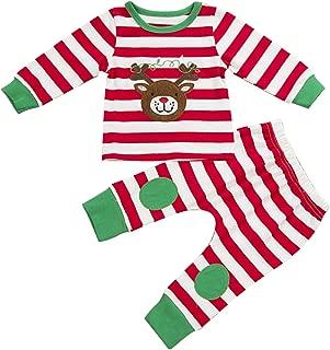 puseky Baby Boys Girls Christmas Reindeer Stripe T-Shirt+Pant Outfit Pajamas Set