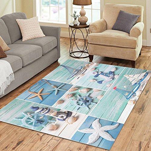 InterestPrint Ocean Summmer Seashells Area Rug Carpet 7 x 5 Feet, Beach Star Fishes Blue Modern Floor Rugs Mat for Office Home Living Dining Room Decoration