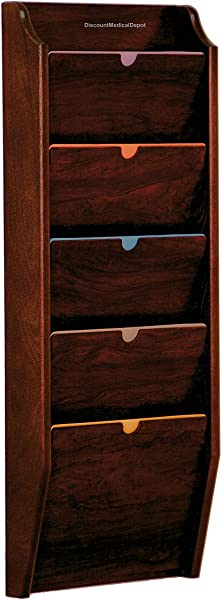 DMD HIPAA Compliant File Holder Wall Mounted Patient Chart Rack 5 Pocket Privacy Legal Size Mahogany