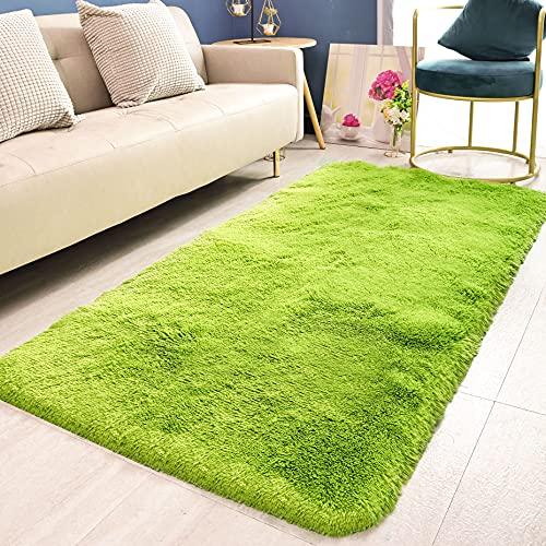 HETOOSHI alfombras mullidas de Interior súper Suaves y mullidas de Terciopelo Linda Alfombra de Dormitorio mullidaAdecuado para salón Dormitorio baño sofá Silla cojín(Verde 120 x 160 cm)