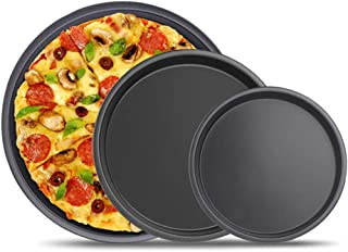 3Pcs Pizza Bakeware Set, Carbon Steel Non-Stick Coating for Oven Baking, Round Deep Dish Pizza Pan Pie Pans, Dishwasher Sa...