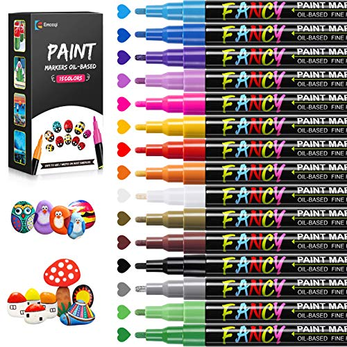 Rotuladores de Pintura Acrílica, Emooqi Marcador de Pintura Impermeable Permanente de 12 Colores, Bolígrafos Acrílicos a Base de Aceite de Secado Rápido para Piedra, Cerámica, Metal, Madera